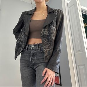 EUC FAUX LEATHER AND BROCADE JACKET